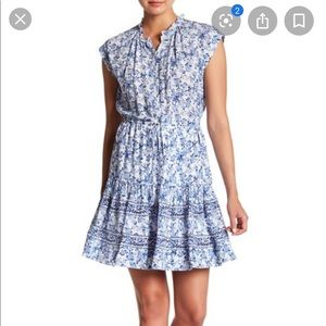 Rebecca Taylor blue and white silk dress NWOT